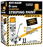 Rust-Oleum P2548849 Professional Striping Spray Paint Contractor Pack, 18 oz, Yellow, 6 Pack
