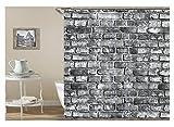 Beydodo Anti-Schimmel Duschvorhang 150x180 Grau Ziegel 3D Vintage Duschvorhang