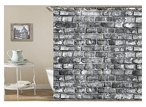 Daesar Antischimmel 3D Duschvorhang 180x180 Grau Ziegel Badvorhang Vintage Polyester-Stoff