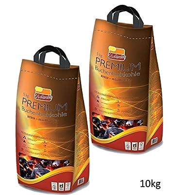 Premium Buchen-Holzkohle 10kg L.A. Garden Profi Grillkohle 2 x 5kg Sack– Hartholzkohle aus Buchenholz - lange Brenndauer gleichmäßige Glut