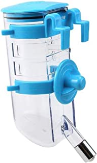Portable Water Bottle No Drip Pet Dispenser Bottle with Stainless Steel Sucker for Crate Cage,Blue
