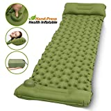 AQSURE Camping Sleeping Pad Self Inflating 2.7 Inch Thick Ultralight and Compact Sleeping Mat with Pillow for Backpacking, Traveling, Hiking, Designed for Couple, and Family Camping