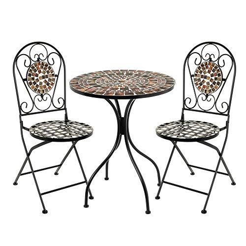 Conjunto Mesa y 2 sillas con Mosaico para Exterior marrón de Hierro y cerámica rústico - LOLAhome