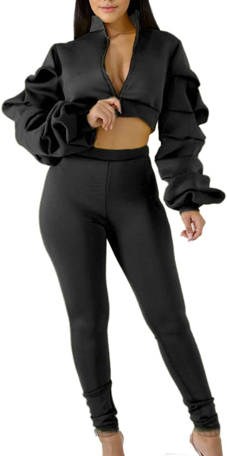 Allumk Women Two Piece Outfit Ruffle Long Sleeve Zip Up Jacket Crop Top and Bodycon Pants Set