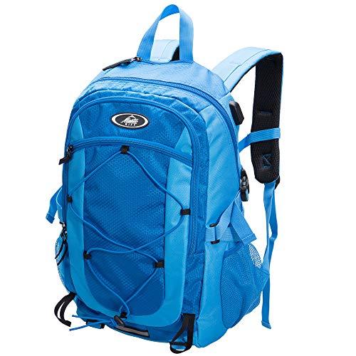 Monzana Wanderrucksack Sportrucksack 25L Outdoor Trekking Hiking Freizeit Rucksack wasserdichte Hülle Brustgurt USB blau