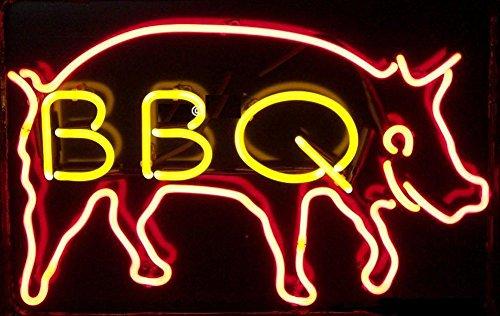 Panneau lumineux néon en verre véritable pour barbecue, maison, bar, pub, salle de jeux, fenêtre, garage, mur de magasin (43,2 x 35,6 cm)