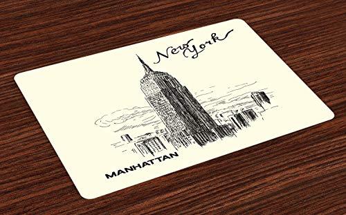 ABAKUHAUS Nowego Jorku, mata do stolika, wzór miejski, skrobak do chmury w sztuce ilustracyjnej Manhattan, tizdeco z trwałego materiału do jadalni i kuchni, szaro-biało-czarna