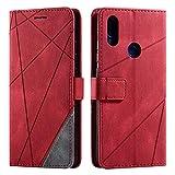 Funda para Xiaomi Redmi Note 7, Flip Folio Libro Cartera Carcasa para Xiaomi Redmi Note 7 Cáscara de TPU, con Cierre Magnético, Ranura para Tarjeta, Rojo