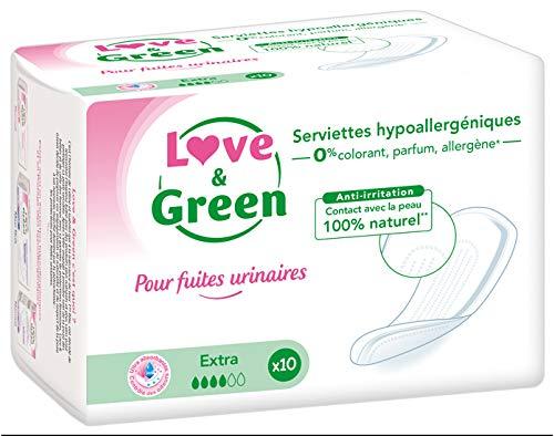 Love & Green pour Fuites Urinaires Serviettes Hypoallergéniques Extra 10 Serviettes