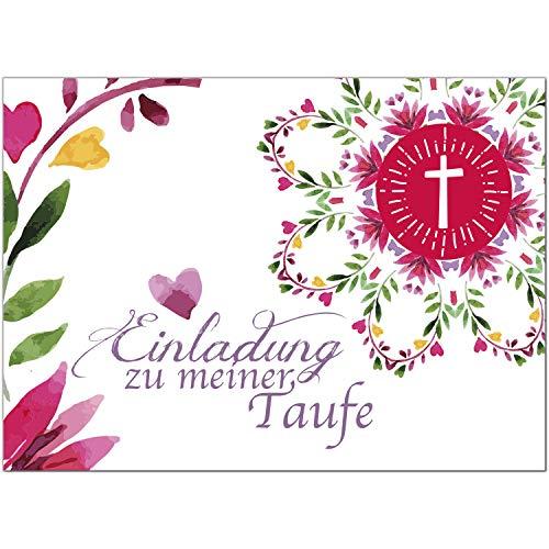 15 x Einladung zur Taufe/Einladungskarten mit Umschlag im Set/Motiv: Aquarell Blumen mit Herz/Baby Taufkarte/Grußkarte/Postkarte /