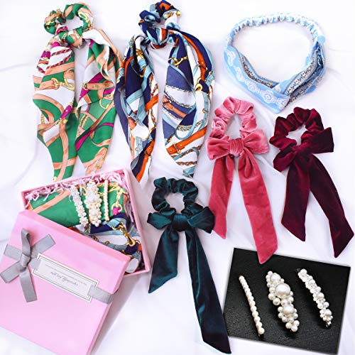 9PCS Scrunchies for Hair Ties Accessories Velvet Satin Cotton Cute Bow Hair Scarf Friendship Best Friend Birthday Gifts for Women Teen Girls Mom Her Headbands Hair Clips with Gift Box