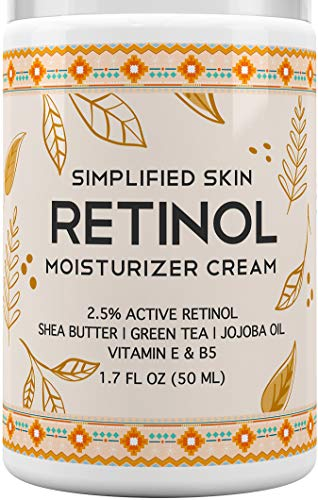 Retinol Moisturizer Cream 25% for Face amp Eye Area with Vitamin E amp Hyaluronic Acid for Anti Aging Wrinkles amp Acne  Best Night amp Day Facial Cream by Simplified Skin 17 oz