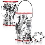 COM-FOUR® Cortadores de galletas 20x de acero inoxidable - cortadores de galletas con motivos navideños - cortadores de galletas para Navidad (20 piezas - en un cubo)