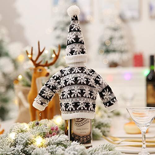 LYFWL Kerstdecoratie Creatieve Breien Rode Fles Sets Versierd Hotel Restaurant Supermarkt Wijn Champagne Fles Cover Mouw Zwart En Grijs Sneeuwvlok Hoed 15 * 7Cm Kleding 15 * 29Cm