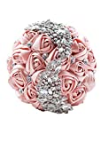 Abbie Home Quinceanera Silver Brooch Bouquet - Bride Wedding Bouquets Bridesmaids Satin Rose Flower with Sparkle Rhinestone Crystal Decoration (Blush Pink)