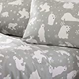 Home Fashion Designs Flannel Sheets Full Winter Bed Sheets Flannel Sheet Set Grey Polar Bears Flannel Sheets 100% Turkish Cotton Flannel Sheet Set. Stratton Collection (Full, Grey Polar Bears)