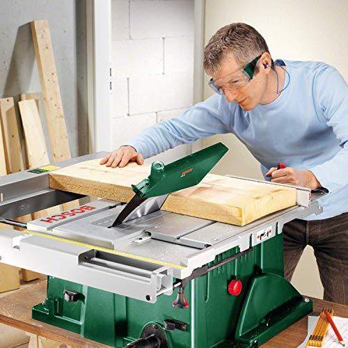 Bosch DIY Tischkreissäge PTS 10, Spaltkeil, Tischverlängerung, Winkelanschlag, Absaugschlauch, Karton (1400 W, Kreissägeblatt Nenn-Ø  254 mm, Schnitttiefe bei 90° 75 mm) - 2