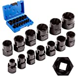 Bolt Extractor Tool 13pcs Nut Remover Impact Easy Out Damaged Lugnut Stripped Rounded Stud 3/8' Drive Metric Kit