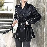 Giacca Di Pelle Da Donna, Moda Vintage Classico Nero Turn-Down Collar Vintage Gothic Punk Ladies Biker Moto Giacca Moto, Confortevole Morbido Pu Materiale In Pelle Artificiale, Retro Coat Outwear Per