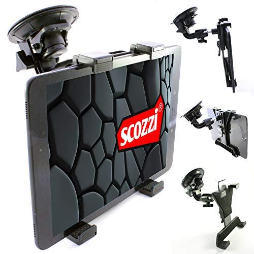 scozzi Supporto per tablet da auto (ventosa da 9 cm), universale per Apple iPad, Samsung Galaxy Tab, Huawei MediaPad) 11 4 3 2 S7 S6 S5e S4 A7 A E M6 M5 T5 Lite Air Mini Pro