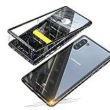 Jonwelsy Funda para Samsung Galaxy Note 10 (6,3 Pulgadas), Adsorción Magnética Bumper Metal con Flip Case Imán Construido en, Vidrio Templado Transparente Back Cover para Note 10 (Negro)