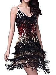 Black Adjustable Strap Gradient Sequin Fringe Dress