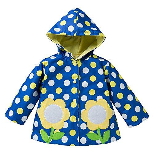 Yuzhonghua Fleurs Bleues Big Wave Fille Manteau Coupe-Vent Pluie for Enfants Mignon Motif Raincoat Vert résistant à l'usure Raincoat, Imper Mignon (Size : M)