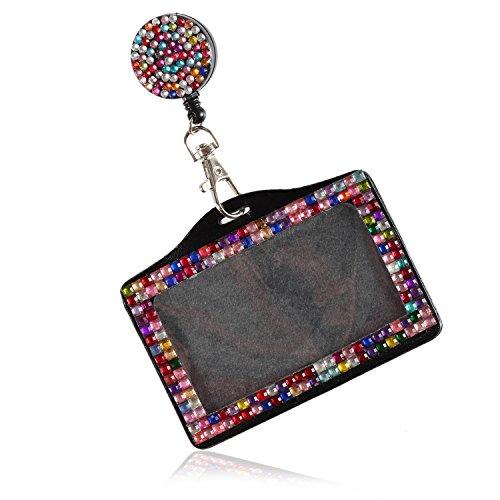 Purely Handmade Fashion Retractable Rainbow Bling Crystal Strap Neck Lanyard Cute Rhinestone Badge Holder+Jeweled Horizontal Business Name ID Card Holder+Beaded Badge Reel Clip