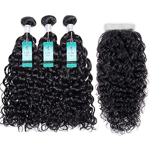 Water Wave Bundles with T Part Lace Closure UDU 12A Malaysian Ocean Wave Wet & Wavy Bundle Deals Human Hair Weave Extensions Remy Hair Bundles 100g/bundle