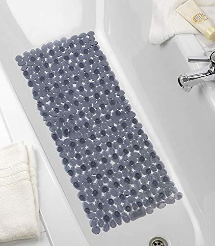 WENKO 22501100 Wanneneinlage Paradise Anthrazit, Antirutsch-Badewannenmatte mit Saugnäpfen, Polyvinylchlorid, 36 x 71 cm, Anthrazit