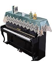 QVONTON アップライト ピアノカバー トップカバー ス保護カバー 防塵カバー アンチスクラッチ レース 刺繍 電子ピアノ用 ハーフカバー トップカバー 通用型 カバー 懸垂感 防塵 耐久性 デジタル 直立型 オシャレ 滑らかで柔らかい 装飾と保護のために 楽器店や家庭に適しています