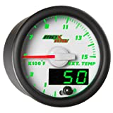 MaxTow Double Vision 1500 F Pyrometer Exhaust Gas Temperature EGT Gauge Kit - Includes Type K Probe - White Gauge Face - Green LED Dial - Analog & Digital Readouts - for Diesel Trucks - 2-1/16' 52mm