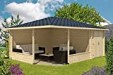Alpholz 5-Eck Gartenlaube Maik-40 mit Anbau aus Massiv-Holz | Gartenhaus mit 40 mm Wandstärke | Garten Holzhaus inklusive Montagematerial | Geräteschuppen Größe: 400 x 570 cm | Spitzdach