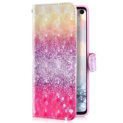 Uposao Kompatibel mit LG G8 ThinQ Handyhülle Glänzend Glitzer Leder Hülle Brieftasche Wallet Case Flip Schutzhülle Tasche Bookstyle Klapphülle Magnetisch Kartenfach Ständer,Rosa