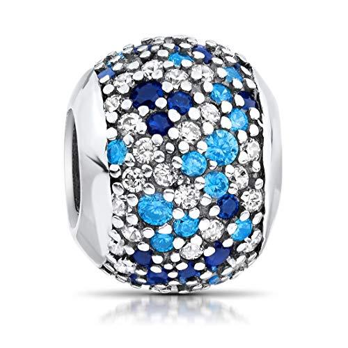 MATERIA Mujer Beads Perla Plata 925Circonita–Charms Bola Royal Azul para Pulsera con joyas de caja 54