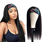 Glueless Human Hair Wigs with Pre-attached Scarf Headbands 150% Density 100% Virgin Real Hair No Lace Front Wigs for Women Natural Color Long Straight Human Hair Wigs