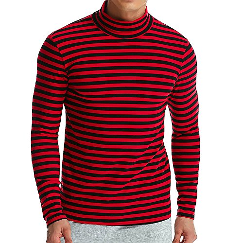 ZEFOTIM Men's Autumn Winter Striped Turtleneck Long Sleeve T-Shirt Top Blouse (X-Large,Red)