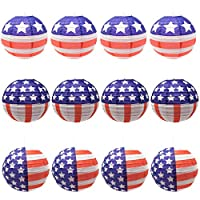 12個の愛国的な吊り提灯 – 12インチ 赤、白、青 アメリカ国旗ランタン 7月4日 愛国的なパーティー装飾