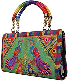 Sai Amrut Gifts Women's Silk Clutch Hand Bag with Embroidery Work (Green)