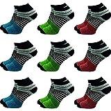 GAWILO 9 Paar Sneaker Socken | Damen und Herren | hoher Baumwollanteil | ohne drückende Naht (39-42, farbig 3)