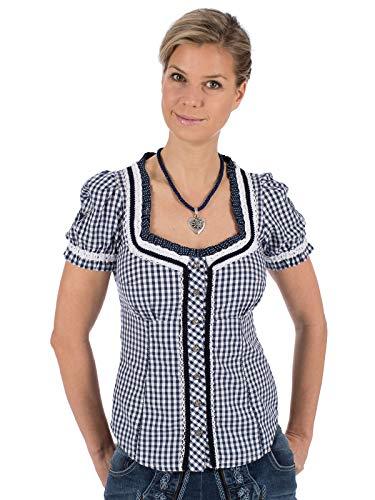 MarJo Damen Trachtenbluse Brenda Edina - Dunkelblau Gr. 50