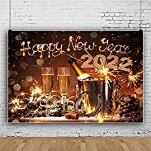 AOFOTO 7x5ft Happy New Year Backdrop 2022 Eve Party Decor Background Carnival Dinner Table Lucky Horseshoe Holiday Celebration Champagne Glass Goblet Business Event Evening Reception Festival Banner