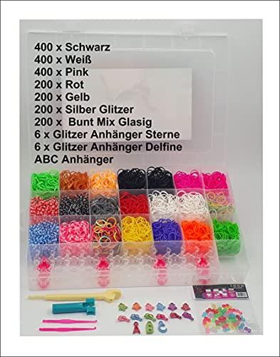 Loom Bands Starter Set Box 4200 Bänder Webrahmen Großer Webstieft,15 Glitzer Anhänger, 50 Stern Perlen, 50 Herz Perlen, 50 Blumen Perlen, 50 Bunte S Clips (4400)