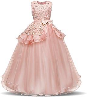 LYQ 子供のパーティーボールガウンのウェディングブライドメイドのドレスの女の子ノースリーブの刺繍の花の王女のページェントドレス蝶ネクタイサッシチュチュ誕生日パーティーマキシドレス (色 : ピンク, サイズ : 130)