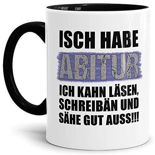 Abi-Tasse Isch Habe Abitur - Selbst gestalten mit Jahr und Name zum bestandenen Abitur/Schule/Lehrer/personalisierte Geschenk-Idee/Innen & Henkel Schwarz