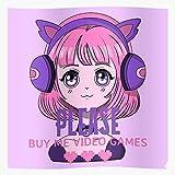 Video Buy Gurl Gamer Anime Games Girl I Games- Girls - Trendy Poster for Wall Art Home Decor Room