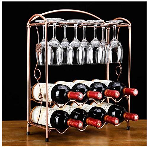 HOYX - Botellero Estantes para Vino de Metal de Mesa, Organizador de estantes para Copas industriales y Soporte para Botellas, Accesorios para Vino, Regalos temáticos para Mujeres, Bronce