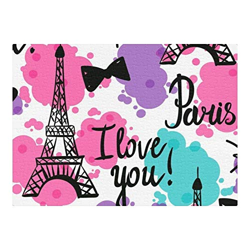 Wooden Jigsaw Puzzle for Adults 500 Piece Paris I Love You Eiffel Tower Jigsaw Puzzle, Premium Jigsaw Puzzle, Softclick Technology Means Pieces Fit Together Perfectly