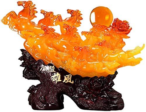Living Equipment Estatuas de caballos coleccionables Esculturas grandes Feng Shui Ocho caballos corriendo Adornos Decoración de la oficina en el hogar Atrae riqueza y buena suerte Verde Color: Amar