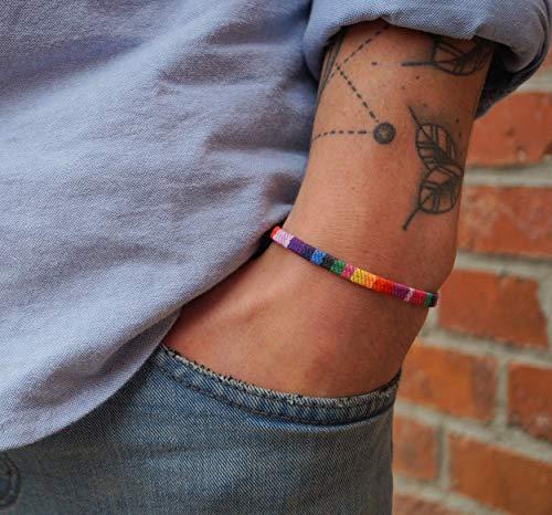 Pride Bracelet for Men and Women - Handmade Festival Jewelry Accessories - LGBT Gay Lesbian Bisexual Bi Transgender - Boho Style - 100% Waterproof & Adjustable - Rainbow